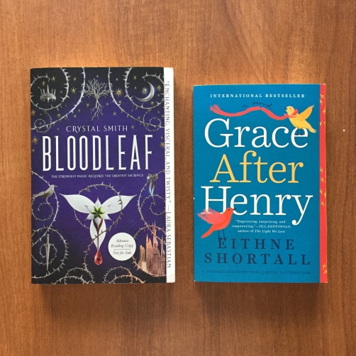 two books. Bloodleaf by crystal smith and Grace After Henry by Eithne Shortall
